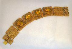 Vintage 1920's Napier Filigree & Golden Topaz Glass Link Bracelet #vintagejewelry #Napier #bracelet #topaz #filigree #1920's $149.00
