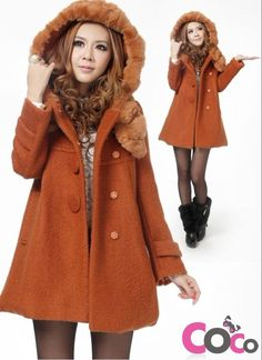 Orange Cute Girlish Style Hooded Coat with Fur and Sweet Bow at The Back