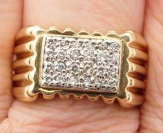 0.50 CARAT T.W. MAN'S ROUND CUT DIAMOND CLUSTER RING 10K YELLOW GOLD #38225 #Cluster