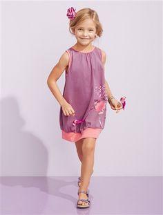 Happy Price Girl's Jersey Puffball Dress Orange+Purple+Pink