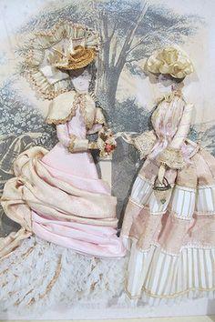 Vintage Antique Victorian La Mode Illustree SHADOW BOX w/Material Dresses #2