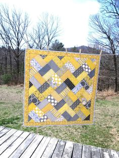 """Completed Baby Quilt """"You Are My Sunshine... When Skies Are Grey"""" For a Friend's Baby"""