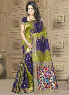 Saree goes well for all occasions. Order this divine banarasi silk traditional  saree for festival and wedding. Free shipping in india and cod.