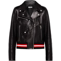 Miu Miu JACKET (57,910 MXN) ❤ liked on Polyvore featuring outerwear, jackets, embellished jacket, leather jackets, slim leather jacket, long leather jacket and patch leather jacket