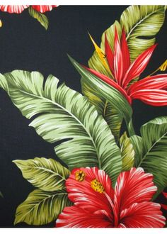 10Pa Wali - Vintage Style Hawaiian Fabrics Tropical Botanical Hawaiian cotton fabric. Pa Wali fabric has hibiscus and plumeria flowers.