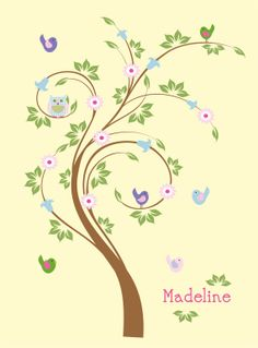 Kids swirl tree decal  initial monogram decal  by wallinspired, $95.00