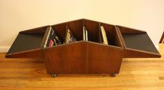 Vintage rolling double flip-top storage box for vinyl records, made by Lane Furniture
