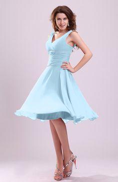 Ice Blue Bridesmaid Dress - Cute A-line Sleeveless Chiffon Knee Length Short Ruching