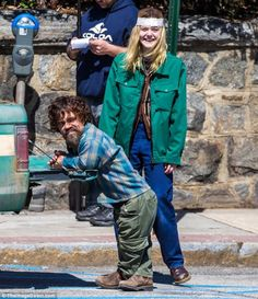 Peter Dinklage and Elle Fanning during the filming of 'I Think We're Alone Now '