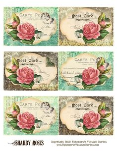 Ephemera's Vintage Garden: Free Printable - Shabby Rose Postcard Tags