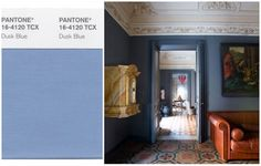 BRING IT HOME: With moody blue walls. Add in colorful tiles help bring the hue to life. As seen here in a drawing room designed by Mehall Griffey and Jerry Maggi    - CountryLiving.com