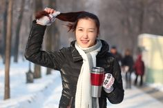 #cold #cute #face #female #happy #person #snow #wink #winter