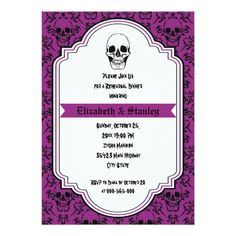 Skulls damask purple wedding rehearsal dinner card