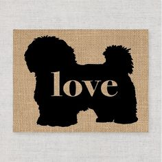 """Maltese / Havanese Love - A Print on Your Choice of Fine Art Paper or Burlap - Can Be Personalized. This inexpensive print is a creative way to decorate your own home and will also be a treasured and thoughtful gift for dog-lovers! Ordering Options: Heavy Duty, Laminated Burlap or Canvas Textured, Artist Quality Paper (White). Choose the word """"Love"""" or personalize the print with the pet's name ($2.50 extra). PLEASE NOTE: if you choose to personalize your print the font & style will be the..."""