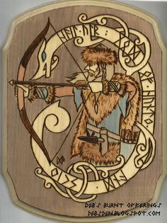 Ullr Plaque Pyrography Norse God by debsburntofferings on Etsy