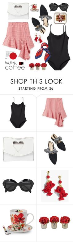 """""""Caffeine Fix: Coffee Break"""" by hamaly ❤ liked on Polyvore featuring Proenza Schouler, CÉLINE, J.Crew, Pfaltzgraff, The French Bee, outfit, skirt, ootd and coffeebreak"""