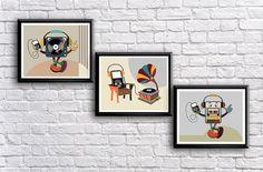 Poster Set of 3, Music Art, Geekery Poster Prints, Retro Print, Pop Art, Hipster Music Poster, Modern Wall Art, Giclee Fine Art print $40