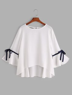Shop White Bell Sleeve Bow Tie Dip Hem Blouse online. SheIn offers White Bell Sleeve Bow Tie Dip Hem Blouse & more to fit your fashionable needs.