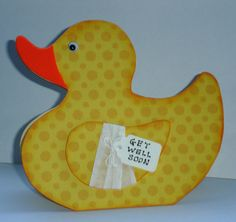 Get Well Soon cute Duck shaped card Handmade by pollypurplehorse, £2.95