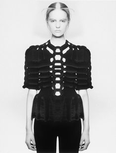 Fashion as Art - couture knitwear design with symmetrical structuring & 3D textures; sculptural fashion // Sandra Backlund