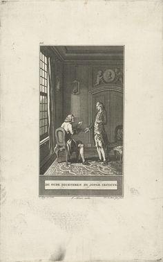 Noach van der Meer (II)   Oude dichter en de jonge criticus, Noach van der Meer (II), Johannes Allart, 1777   In een kamer bij het raam zit de oude dichter op een stoel met een blad papier in zijn handen. De jonge criticus staat tegenover en spreekt met hem.