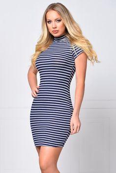 True Comfort Navy Striped Dress – Fashion Effect Store