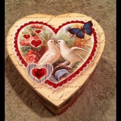 NIB Vintage Valentine Heart Boxed Soap What a lovely Keepsake Box embellished with turtle doves and hearts! The luxury Heart-Shaped soap is triple milled, vegetable based and infused with Verbena Scent, a light sweet Lemongrass fragrance. 4 oz Bar. Punch Studio Accessories