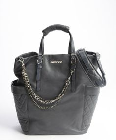 Jimmy Choo smoke grey leather and chain 'Blare' tote