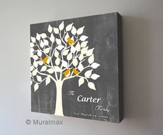 Family Tree With Birds , Personalized Family Name Sign, Canvas Art., Anniversary Christmas Gift, Wedding sign
