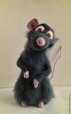 """Купить Крысенок Реми, """"Рататуй"""" - темно-серый, крыса, крысенок, крысик, мышь, реми, Рататуй"""