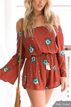 Rust and Turquoise floral off-shoulder design and random floral patterns make this sexy playsuit super flattering in comfy fabric, while the flared sleeves add a lively touch to it. Pair it with  stiletto heels and wait for compliments! #Sexy #Playsuits #Fall_Fashion #Trends #Favorites
