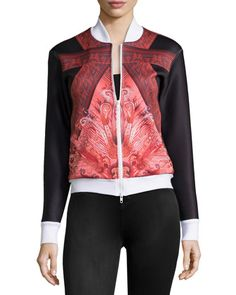 X by Gottex Indochine Scuba Bomber Jacket, Red | NM Last Call