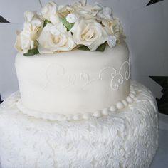 Torta Artística Flores Brancas