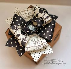 Great topper using Sizzix Gift Bow Bigz Die by StampinUp demonstrator Mellissa Sunde