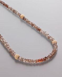 Zirkon-Collier in Naturfarben - Nude Zircon Necklace  Verschluss aus 375er Gelbgold Zirkon mit ca. 50 ct, ca. 45 cm lang  Die Edelsteine aus Madagaskar sind vielfarbig, ausgehend von #nude #braun.  #Edelstein #Schmuck #Kette #Halskette #Zirkon #Zircon #jewellery #jewels #necklace #gemstone #gem