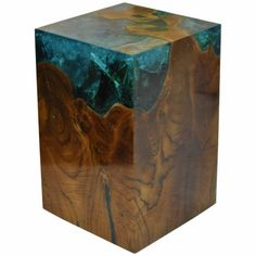 Located using retrostart.com > Fractal Resin And Teak Side Table by Unknown Designer for Unknown Manufacturer