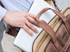 Leather and Canvas Laptop Briefcase by Scaramanga