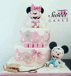 Baby Minnie an Mickey Mouse winter cake