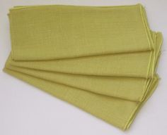 "Sweet Little Set of 4 ~11"" Square Greenish Yellow Nice Linen Blend Table Napkins"