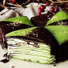 Chocolate-covered crepe cakes and gold flakes together? It's a matcha made in heaven.