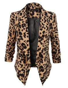 LE3NO Womens Leopard Print 3/4 Sleeve Draped Open Front Blazer