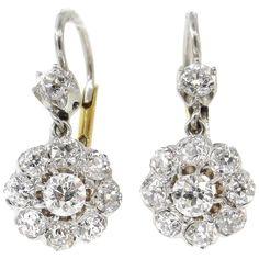 14a65c9d739f Victorian 3.50ct Old European Diamond Drop Earrings 14k Yellow Gold EGL USA