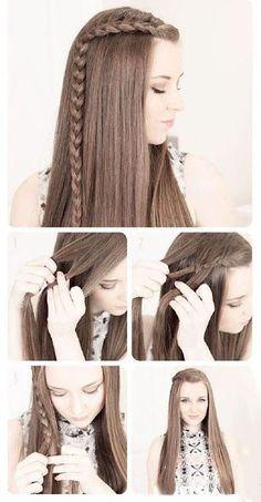 Penteado cabelo solto com trança na lateral