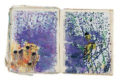 Purvis Young (1943-2010) Untitled book pages, 1983 Ballpoint pen, marker, paint, on paper glued to found book 12 x 17.5 inches By Souls Grown Deep Foundation