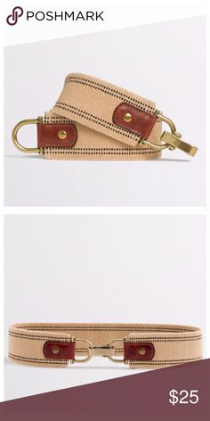 "{j. crew} clip elastic belt J. Crew factory clip elastic belt. So cute cinched around your waist over a floral dress! Cotton/rubber with leather trim. Width is 1"". Brand new with tags! J. Crew Accessories Belts"
