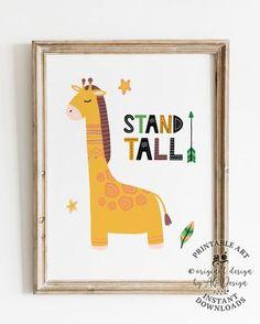 Giraffe Nursery Print, Stand Tall Playroom Print, Giraffe wall art, Gender Neutral Tribal wall decor, Baby Animal Art, Animal Nursery prints Baby Giraffe Nursery, Boho Nursery, Animal Nursery, Nursery Neutral, Nursery Prints, Nursery Art, Nursery Ideas, Nursery Decor, Bedroom Ideas