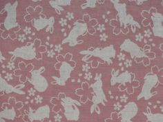 Pink Rabbits and Cherry Blossoms Cotton Gauze by kyotocollection