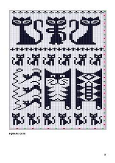 Jacquard Knitting Pattern - Cats, saved from a Russian site with FREE Knitting Schema Graphs . don't need to speak Russian to use the graphs! Fair Isle Knitting Patterns, Knitting Charts, Knitting Stitches, Knitting Designs, Knitting Projects, Fair Isle Pattern, Free Knitting, Crochet Projects, Crochet Chart