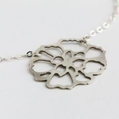 Silver Hand-pierced Carnation Necklace