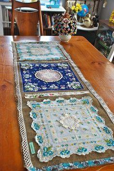 diy craft ideas | DIY & Craft Ideas / burlap and blue table runner